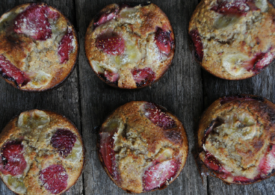 Strawberry, Banana & Coconut Muffins
