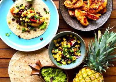 Pineapple & Black Bean Cajun Chicken Wraps