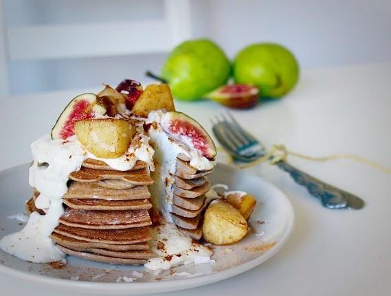 Pear & Cinnamon Pancakes with Coconut Yoghurt