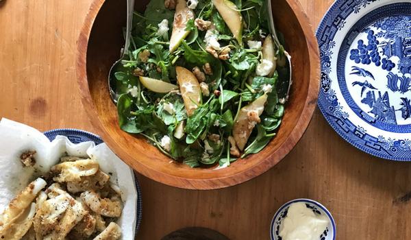 Caramelised Pear, Walnut Goats & Cheese Salad