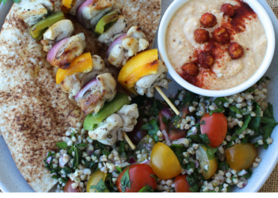 Marinated Chicken Skewer, Hummus & Buckwheat Tabbouleh