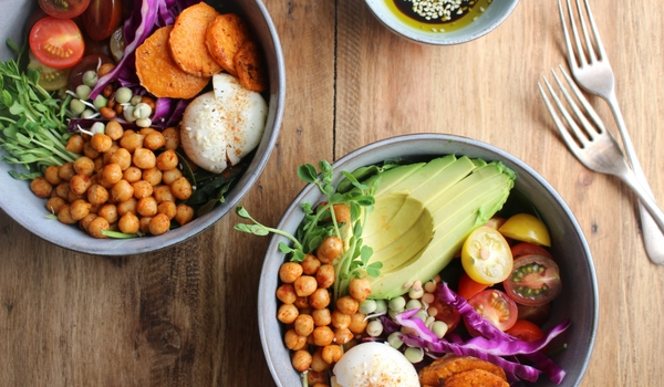 Chickpea and Sweet Potato Rainbow Salad