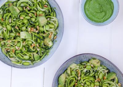Pesto Zucchini Noodle Salad