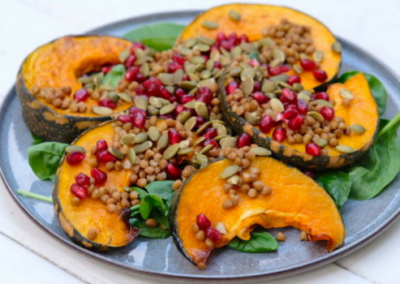 Roast Pumpkin Salad with Pomegranate and Pepita Seeds