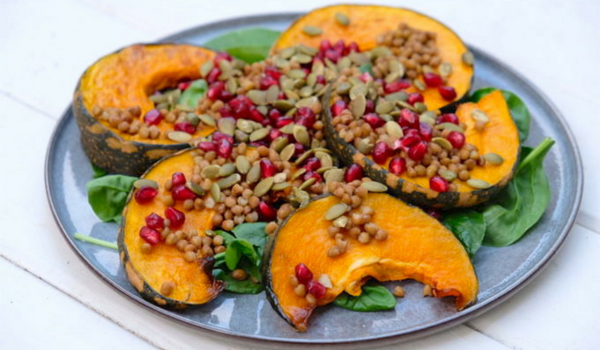 Roast Pumpkin Salad with Pomegranate and Pepita Seeds