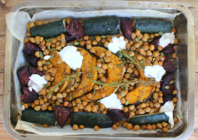 Cinnamon Roasted Vegetables With Yoghurt Dressing