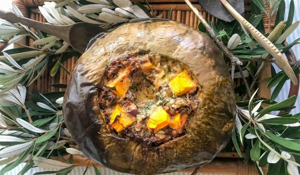 Baked Pumpkin Stuffed with Cheese & Veggies