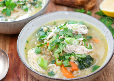 Supercharged Chicken, Barley & Kale Soup