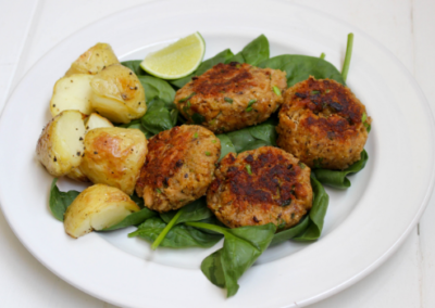 Tuna Patties with Crispy Roast Potatoes