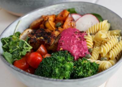 Grilled Chicken Nourish Bowl with Beetroot Hummus