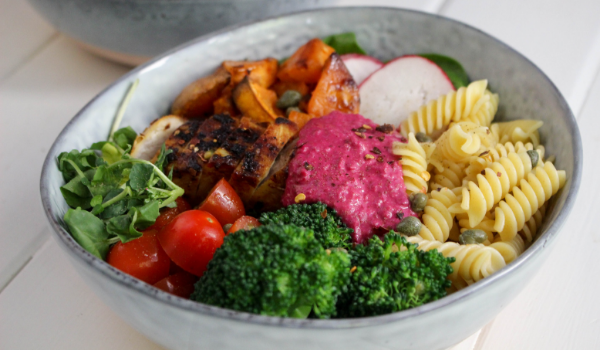 Grilled Chicken Nourish Bowl with Beetroot Hummus