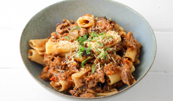 Slow Cooked Beef & Eggplant Ragu with Rigatoni